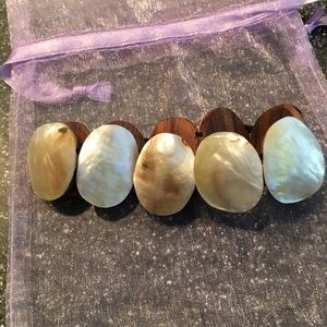 Wood & Mother of Pearl Stretchy Bracelet